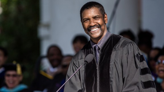 Academy Award-winning actor Denzel Washington delivered the commencement speech at Dillard University in New Orleans on May 9.