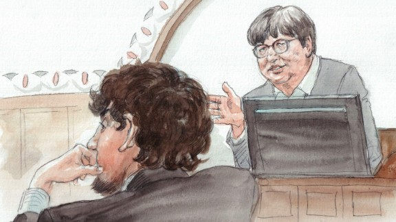 Tsarnaev trial sketch - Sister Prejean with Tsarnaev