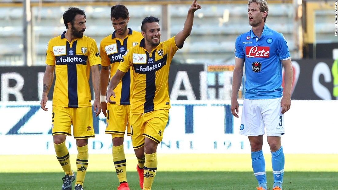 Cristobal Jorquera celebrates his stunning goal as already-relegated Parma drew 2-2 at home against Napoli.