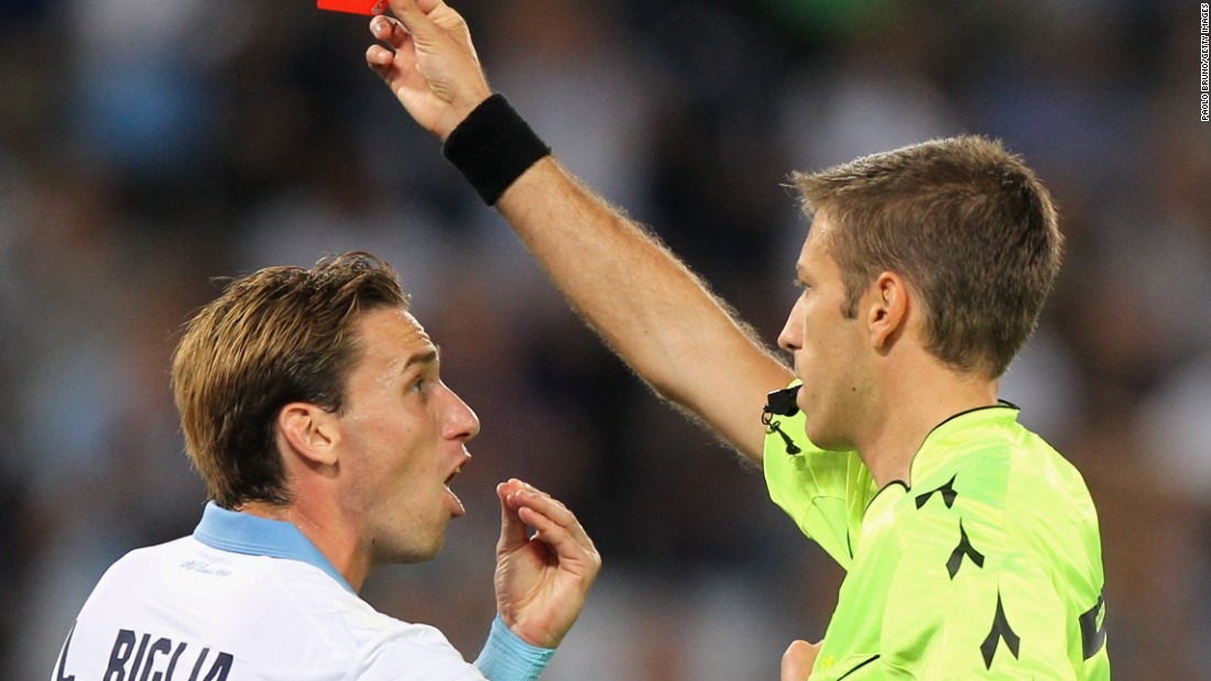 Lucas Biglia remonstrates with referee Davide Massa after Mauricio's sending off in the first half in the game between Lazio and Inter Milan. Lazio would go on to finish the game with nine men after Federico Marchetti saw red in the second half.