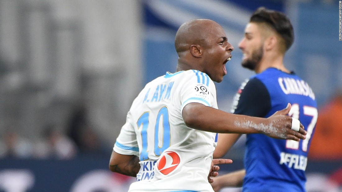Andre Ayew celebrates drawing Marseille level in their Ligue 1 match against Monaco. Romain Alessandrini completed the comeback in the 87th minute to secure a first win in five matches for Marcelo Bielsa's side.