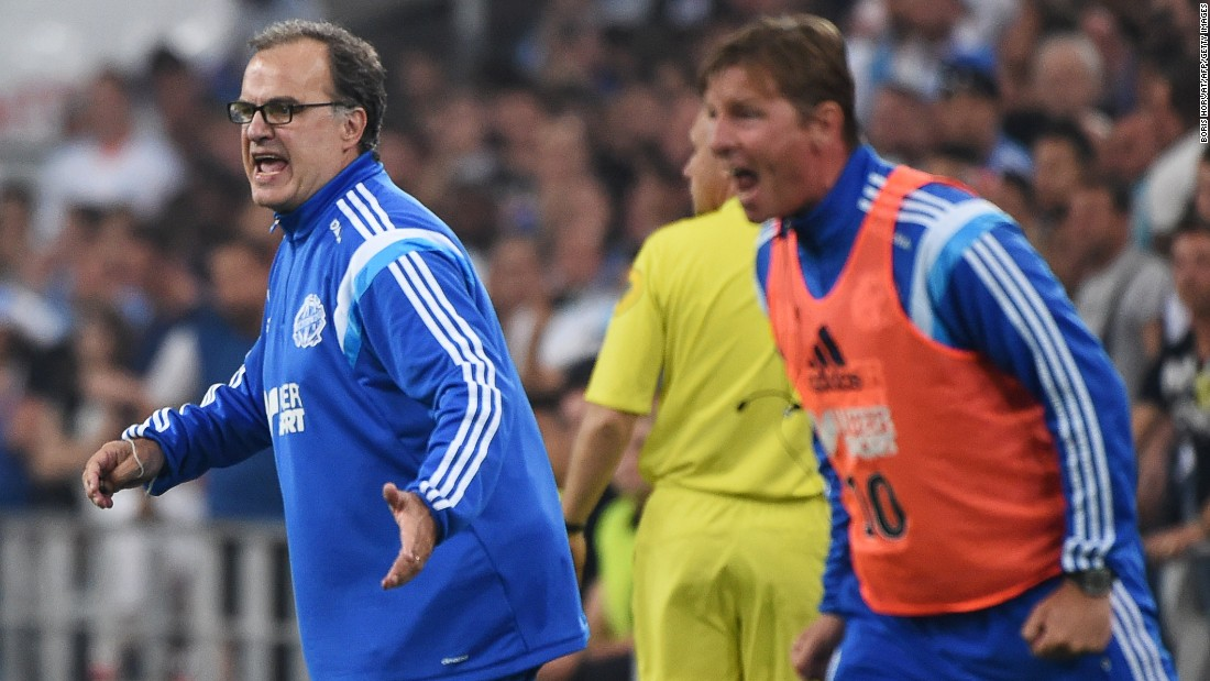 Bielsa shouts orders from his technical area during the win. His side had been in contention for the Ligue 1 title but four defeats in a row now means they are just hoping to secure a place in the Champions League next season.