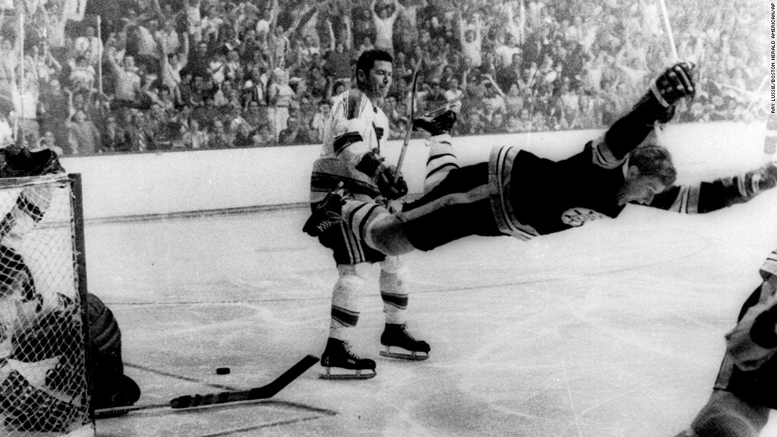In one moment, Bobby Orr became a hockey legend. On May 10, 1970, Orr scored an overtime goal in Game 4 of the Stanley Cup Finals, giving the Boston Bruins their first championship since 1941. In 1971, Orr signed the first million-dollar contract in NHL history -- $200,000 a year for five years -- and in 1979 he became the youngest NHL Hall of Famer when he was inducted at the age of 31.