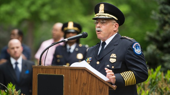 U.S. Capitol Police Chief Kim Dine speaks about Sgt. Clinton J. Holtz during the May 11 memorial service. Holtz died in January 2014.
