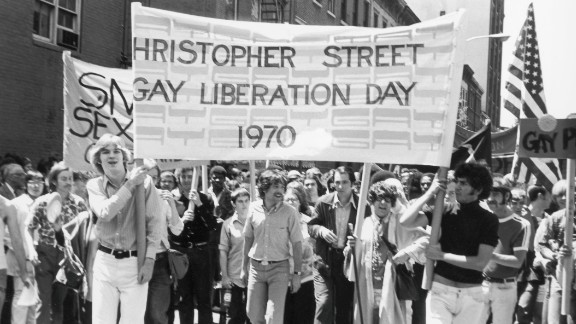 Gay rights activists Foster Gunnison and Craig Rodwell lead a gay rights march in New York on June 28, 1970, then known as Gay Liberation Day. The march was held on the first anniversary of the police raid of the Stonewall Inn, a popular gay bar in New York