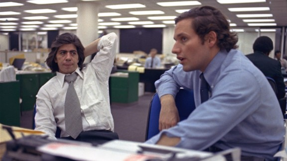 Reporters Bob Woodward, right, and Carl Bernstein sit in the newsroom of the Washington Post newspaper in May 1973. Woodward and Bernstein