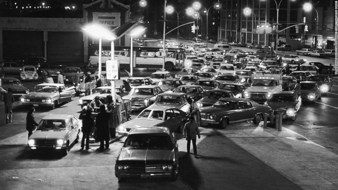 Cars in Brooklyn, New York, line up for gas in January 1974. In