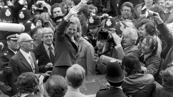 Margaret Thatcher celebrates her first election victory, becoming Britain