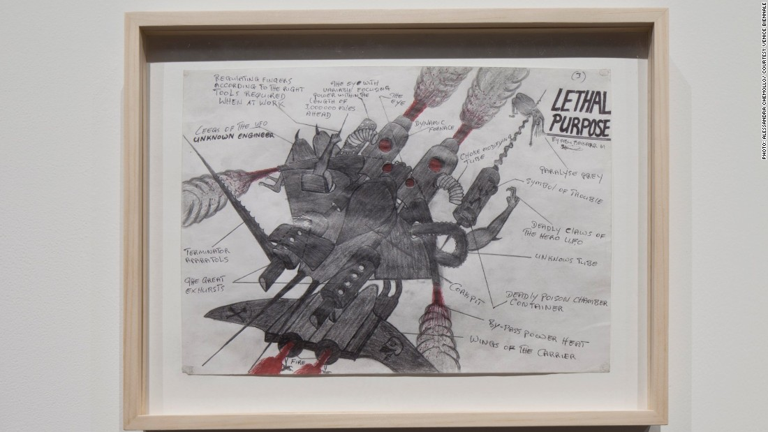 Abu Bakarr Mansaray, THE MASSAKA, 1997.<br />Born in 1970's Sierra Leone, Mansaray now lives and works in Freetown and the Netherlands. His work has combined his passion of engineering and creation in his preparatory sketches on display at the Biennale. zia