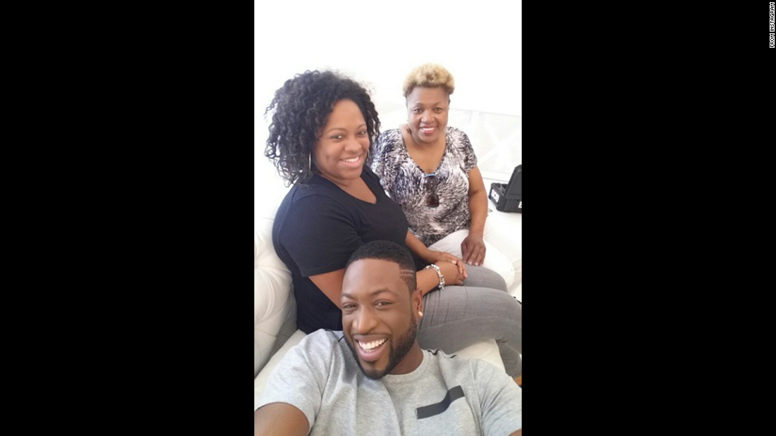"""My day is filled with 3 photoshoots and some other things but i just got the energy i needed when i got a special surprise visit from my mother,"" <a href=""https://instagram.com/p/2WOjgklCIE/"" target=""_blank"">basketball star Dwyane Wade said on Instagram</a> on Wednesday, May 6. That's Wade's mother in the back, next to Wade's friend Lisa Joseph Metelus."
