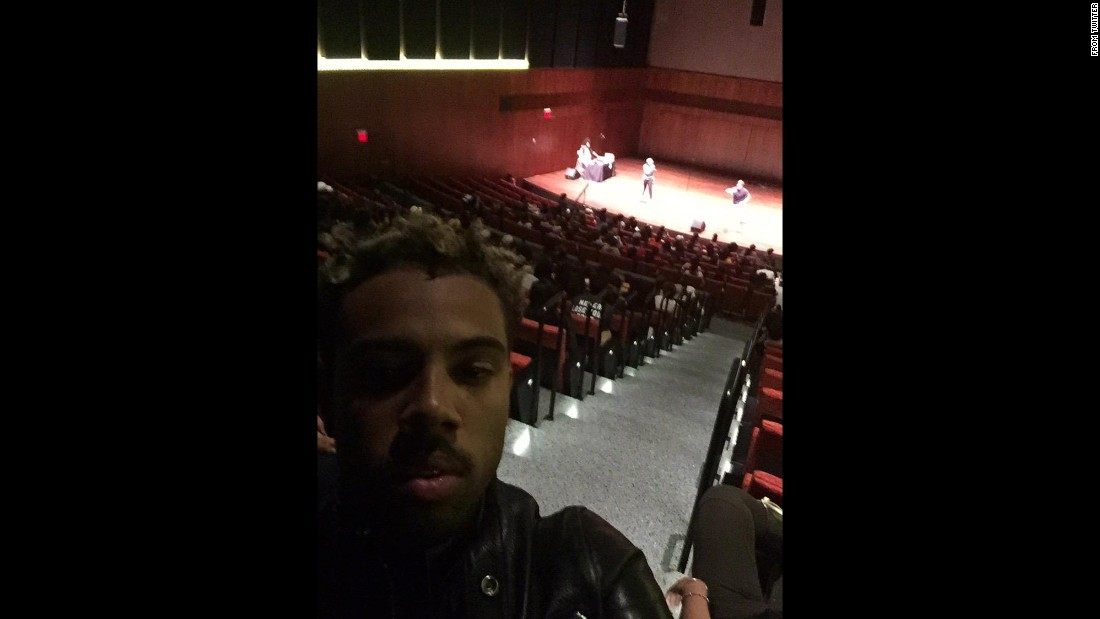 "Hip-hop artist Vic Mensa <a href=""https://twitter.com/VicMensa/status/597900759150170112"" target=""_blank"">tweeted this selfie</a> from Chance the Rapper's Open Mike Night on Chicago's South Side on Monday, May 11. Mensa and Kanye West <a href=""http://www.chicagotribune.com/entertainment/music/ct-kanye-west-performs-at-chance-the-rappers-open-mike-event-20150512-story.html"" target=""_blank"">were surprise performers</a> for the high school students in attendance."