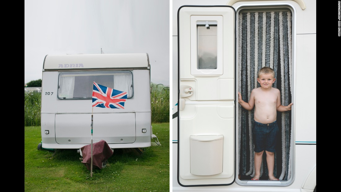 A boy looks out of a caravan in Devizes, England. Photographer Gareth Iwan Jones spent some time last year with British caravanners -- people who vacation in small trailer homes that they tow to all corners of the UK.