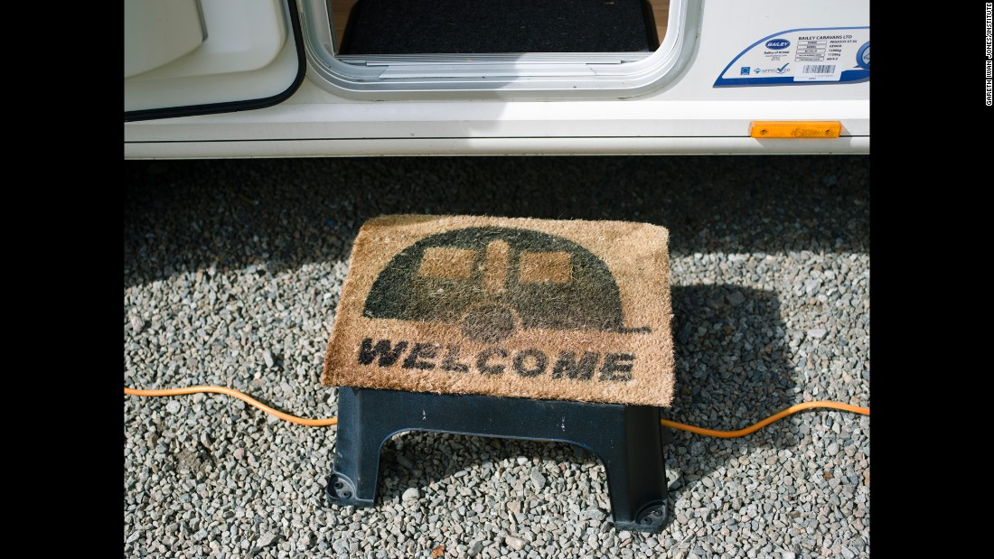 "A ""welcome"" step outside a caravan in Oban, Scotland."