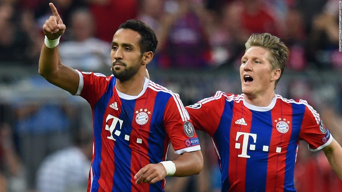 Medhi Benatia (left) gave Bayern Munich hope with a seventh-minute header in the second leg of the Champions League semifinal.