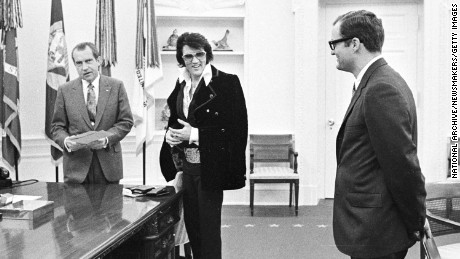 President Richard Nixon meets with Elvis Presley on December 21, 1970 at the White House.