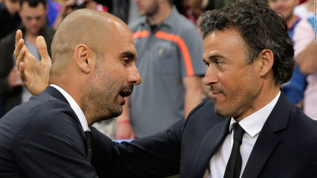 Bayern's former Barcelona coach Josep Guardiola (left) suffered a second successive semifinal defeat, while Luis Enrique (right) will seek to emulate his ex-Nou Camp clubmate's 2011 Champions League triumph in Berlin on June 6.