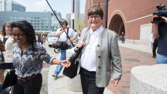"""Prejean leaves the courthouse in Boston on May 11, 2015, after testifying in the death penalty trial of Boston Marathon bomber Dzhokhar Tsarnaev. She said she believed Tsarnaev was """"genuinely sorry"""" for the pain and suffering he inflicted on his victims. Three people were killed and 260 were injured in the 2013 bombings."""