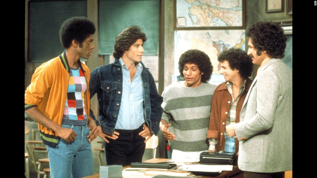 """Welcome Back, Kotter"" premiered on September 9, 1975, unleashing a charismatic young actor named John Travolta on the world. Travolta, second from left, played Vinnie Barbarino, one of the ""Sweathogs,"" a group of underachieving high school students under the tutelage of former Sweathog-turned-wisecracking teacher, Mr. Kotter. The show's theme song, John Sebastian's ""Welcome Back,"" reached No. 1 on the Billboard Hot 100 on May 8, 1976."