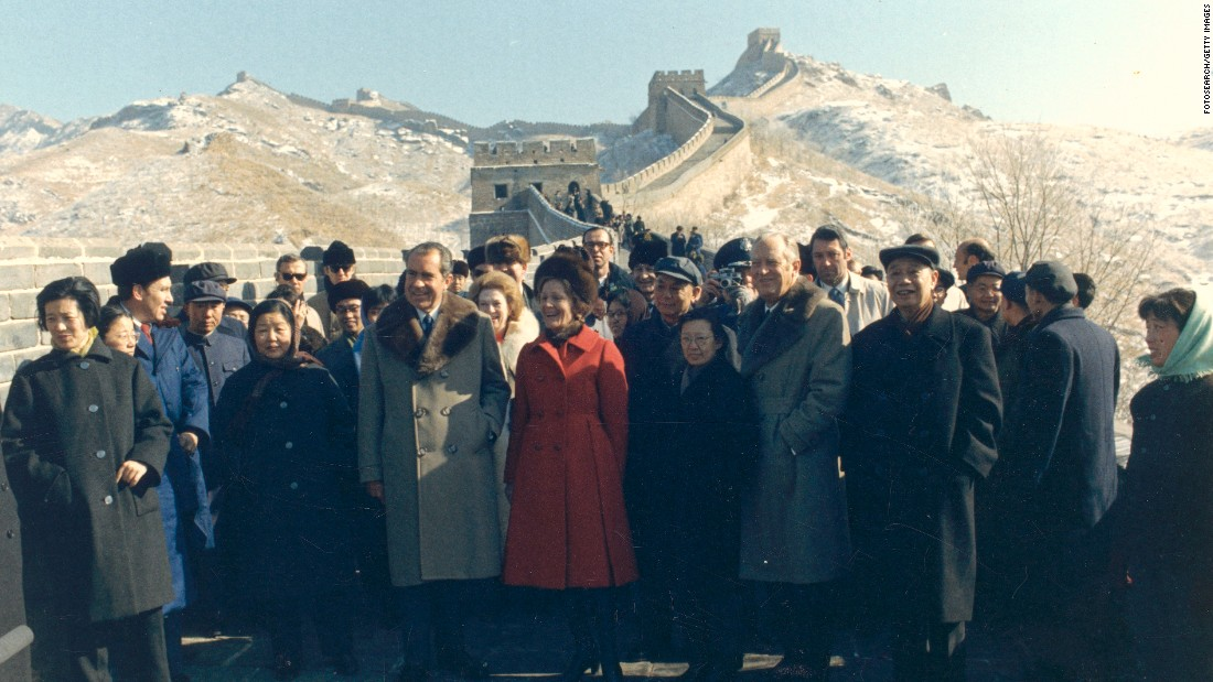 Richard Nixon became the first U.S. President to visit China. His trip in February 1972 was an important step in building a relationship between the two countries.