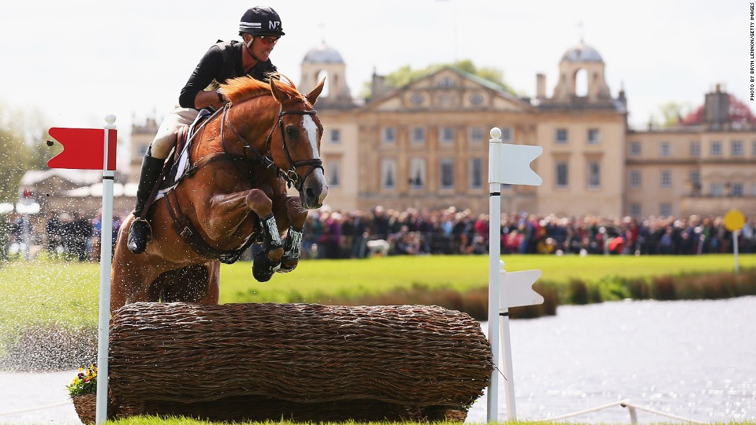 Andrew Nicholson of New Zealand clears a jump riding Nereo during the cross-country Test. The Kiwi, looking to win Badminton for the first time in 31 years, led after the first two days but dropped to sixth after a poor run in the closing showjumping.