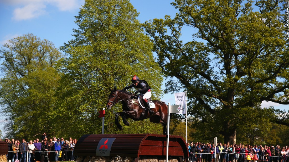 Ben Way of Great Britain and his horse Galley Light successfully make it over a jump. The pair finished the trials in 32nd place.