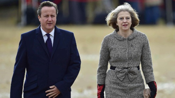 Former UK Prime Minister David Cameron with Theresa May in 2014.
