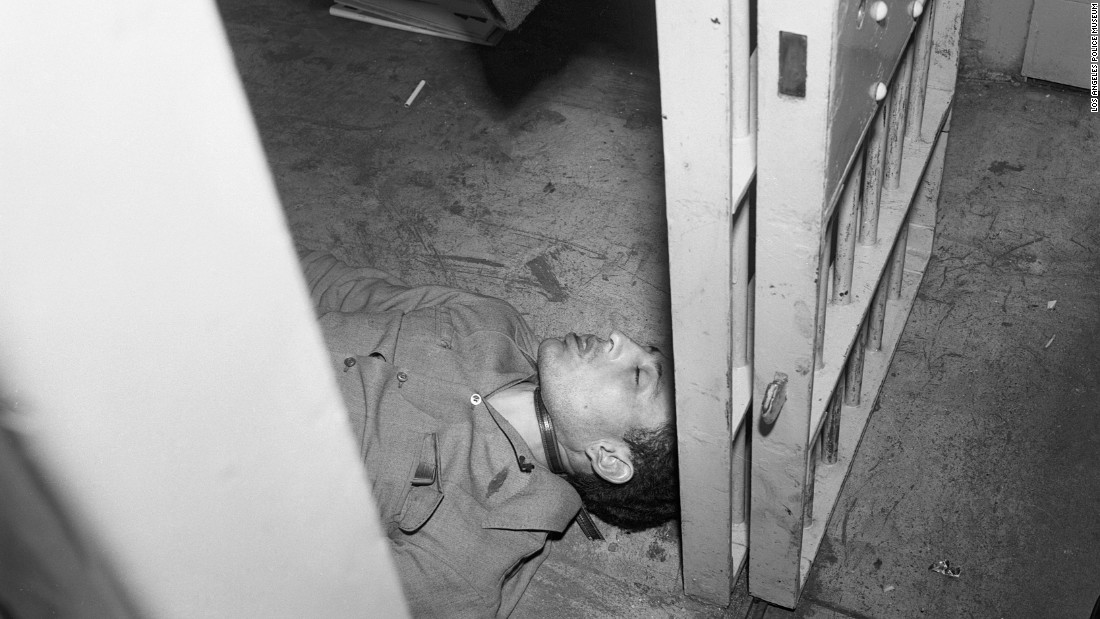 "Manuel S. Pazo, 26, hanged himself with his belt at the Highland Park Station jail in March 1953. ""LAPD popped him at Albion Street and Avenue 17,"" Ellroy wrote. ""Bystanders eyeballed him mauling a 15-year-old girl."""