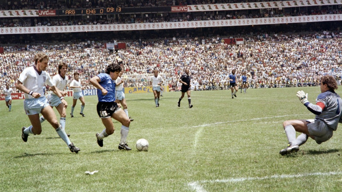 Maradona followed that act of subterfuge with one of the greatest ever World Cup goals as England lost 2-1. The Argentine ran half the length of pitch, outwitting a number of England defenders before slotting the ball past goalkeeper Peter Shilton.
