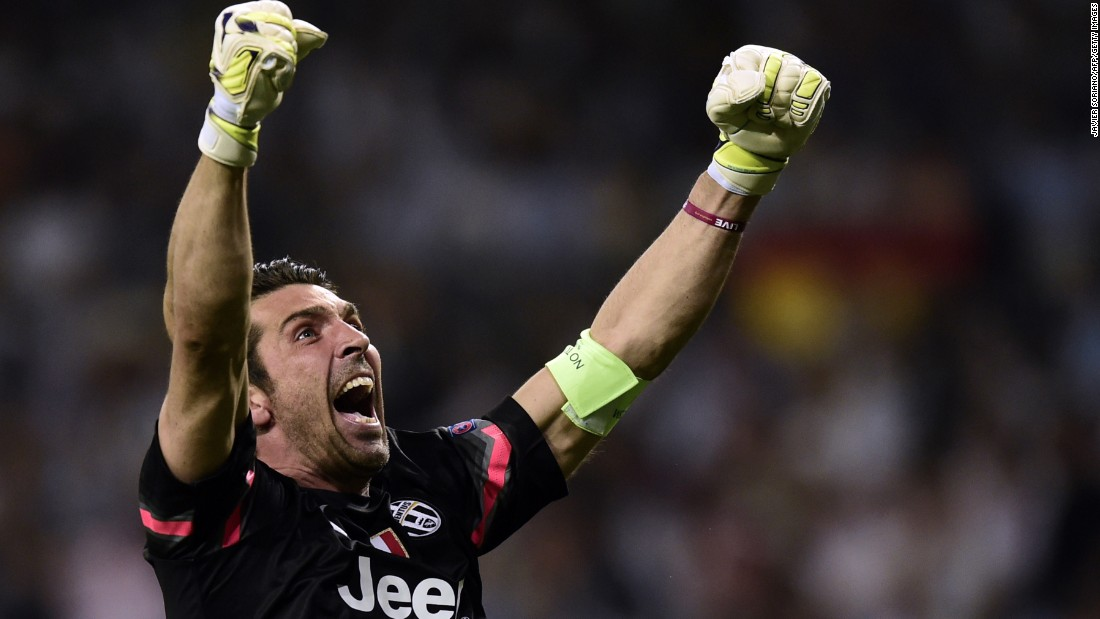 Juventus' goalkeeper and captain Gianluigi Buffon celebrates his team's equalizer in the Champions League semifinal second leg against Real Madrid.