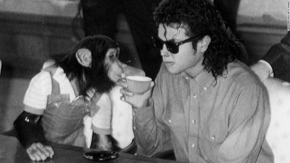 "Who's bad? Well, singer Michael Jackson's ability to handle a grown-up chimp, apparently. The artist is pictured enjoying a cup of tea with his pet ""Bubbles"" at Osaka City Mayoral Hall on September 18, 1987, in Osaka, Japan. When <a href=""http://cnn.com/2009/SHOWBIZ/Music/07/02/michael.jackson.bubbles/index.html?eref=rss_us"">Bubbles became too big and strong for Jackson to keep as a pet,</a> his trainer, Bob Dunn, housed him at his training facility."