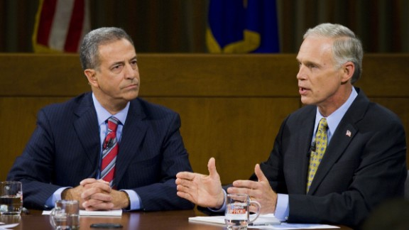 Sen. Russ Feingold, D-Wisconsin, and Republican challenger Ron Johnson square off in a debate at Marquette University Law School in Milwaukee, Wisconsin on Oct. 22, 2010.