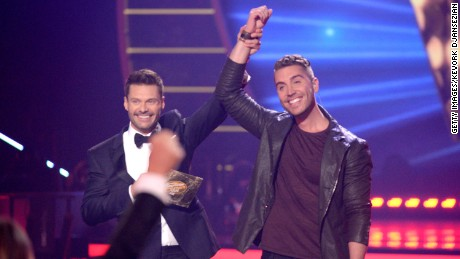 "Ryan Seacrest, left, names Nick Fradiani the latest ""American Idol."""