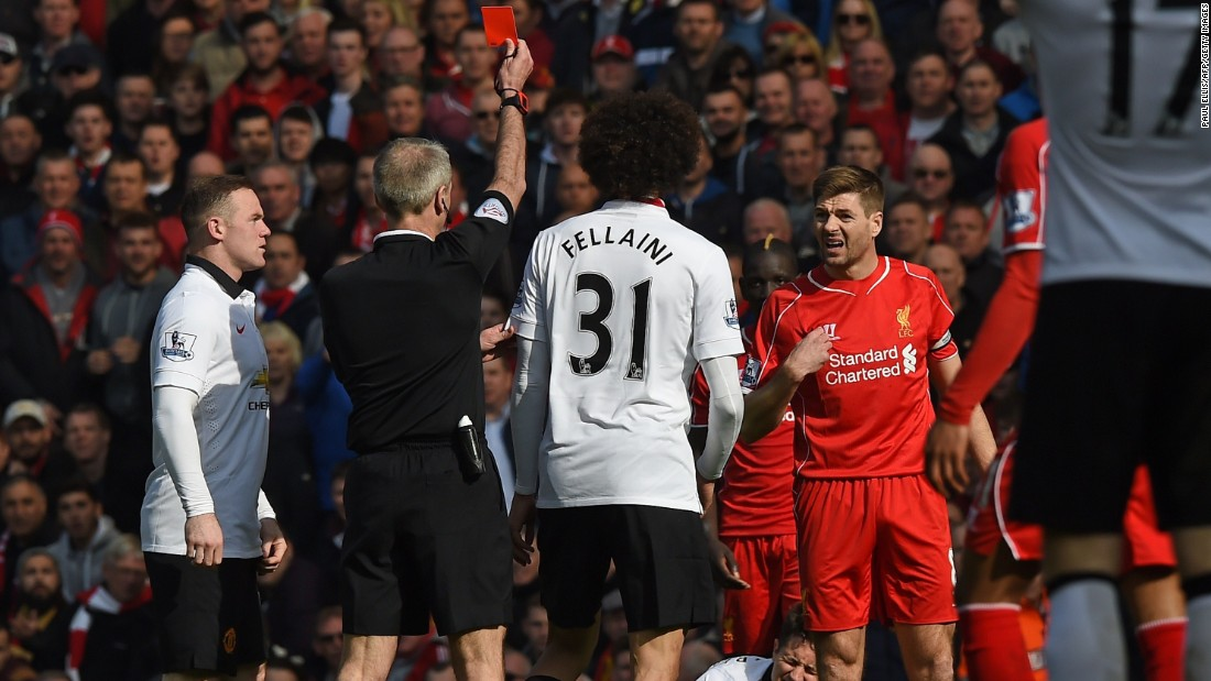 In Gerrard's last game against Liverpool's sworn rivals United he lasted just 40 seconds. Coming on as a half-time substitute, he played a fabulous pass and made a crunching tackle, before losing his composure and stamping on Ander Herrera, leaving referee Martin Atkinson no choice but to send him off.