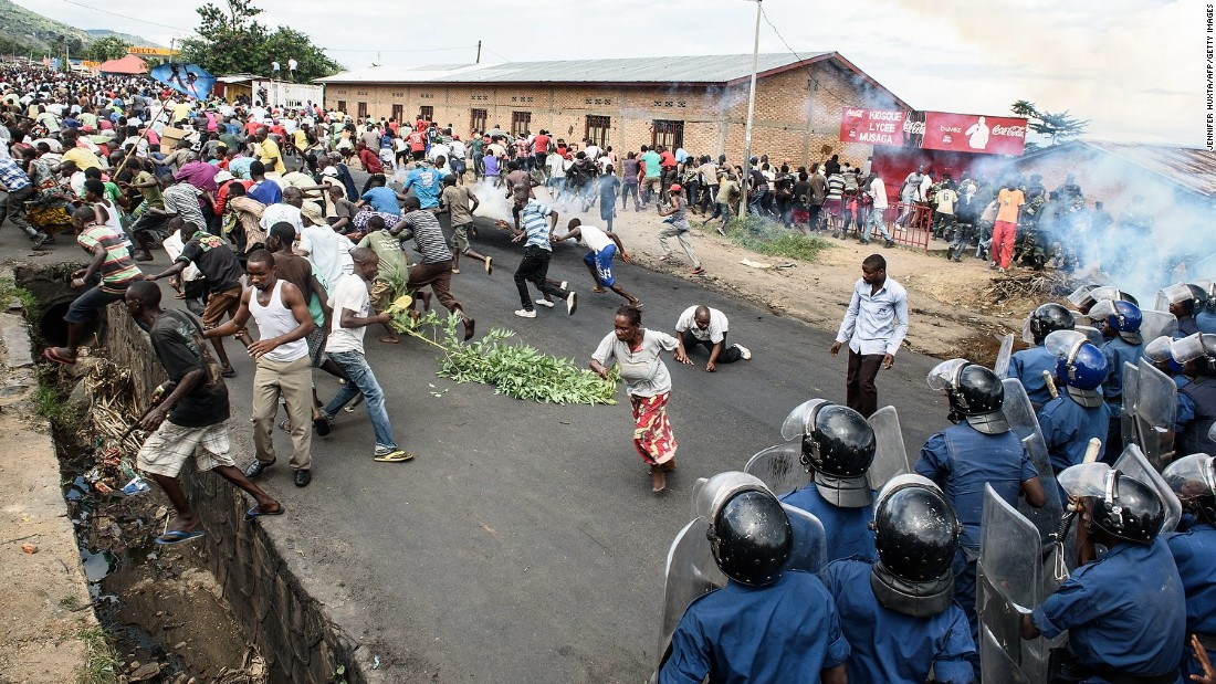 Burundi police and army forces face protesters on May 13 at a demonstration against Nkurunziza in Bujumbura.
