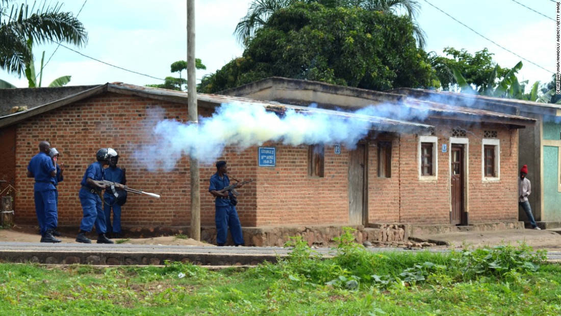 Smoke rises after security forces fired tear gas during a protest on May 12 in Bujumbura.