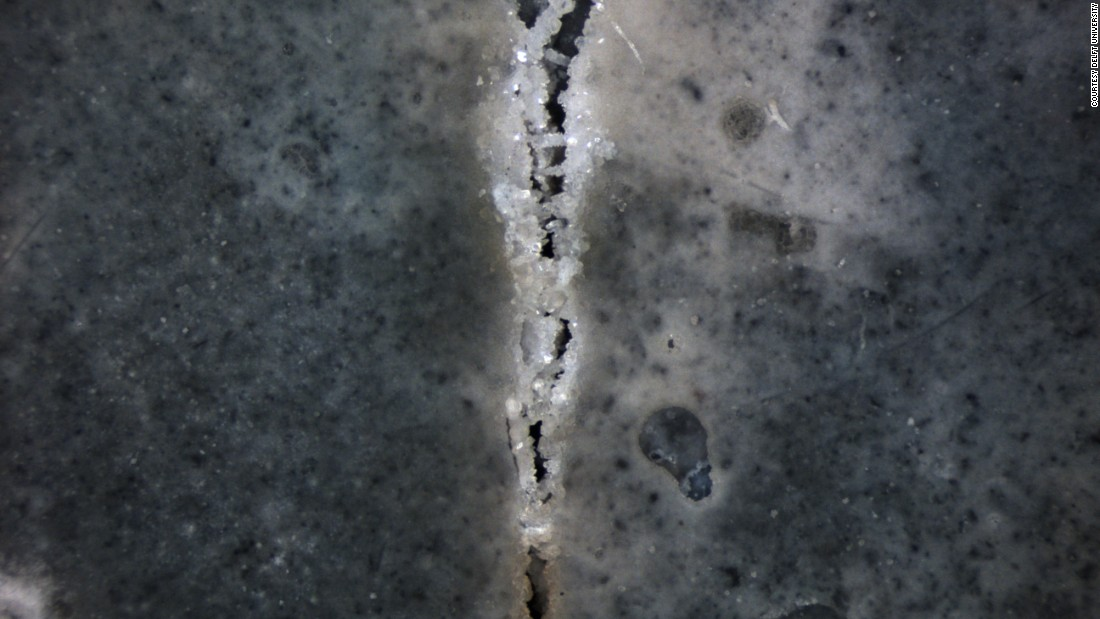 Self-healing concrete crack showcasing concrete technology