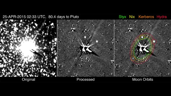Look carefully at the images above: They mark the first time New Horizons has photographed Pluto's smallest and faintest moons, Kerberos and Styx. The images were taken from April 25 to May 1.