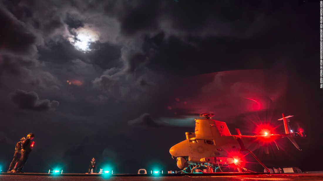 An MQ-8B Fire Scout unmanned aircraft system from Helicopter Maritime Strike Squadron (HSM) 35 performs ground turns aboard the USS Fort Worth (LCS 3) in May 2015.