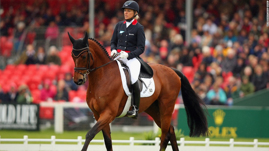 Two-time Olympic team eventing champion Ingrid Klimke was runner-up on Horseware Hale Bob. They were fourth after the opening dressage (pictured) but -- like Fox-Pitt -- went clear in the cross-country and showjumping.
