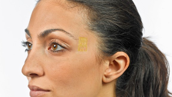 A patch of gold on your temple can track your brain waves in real time.