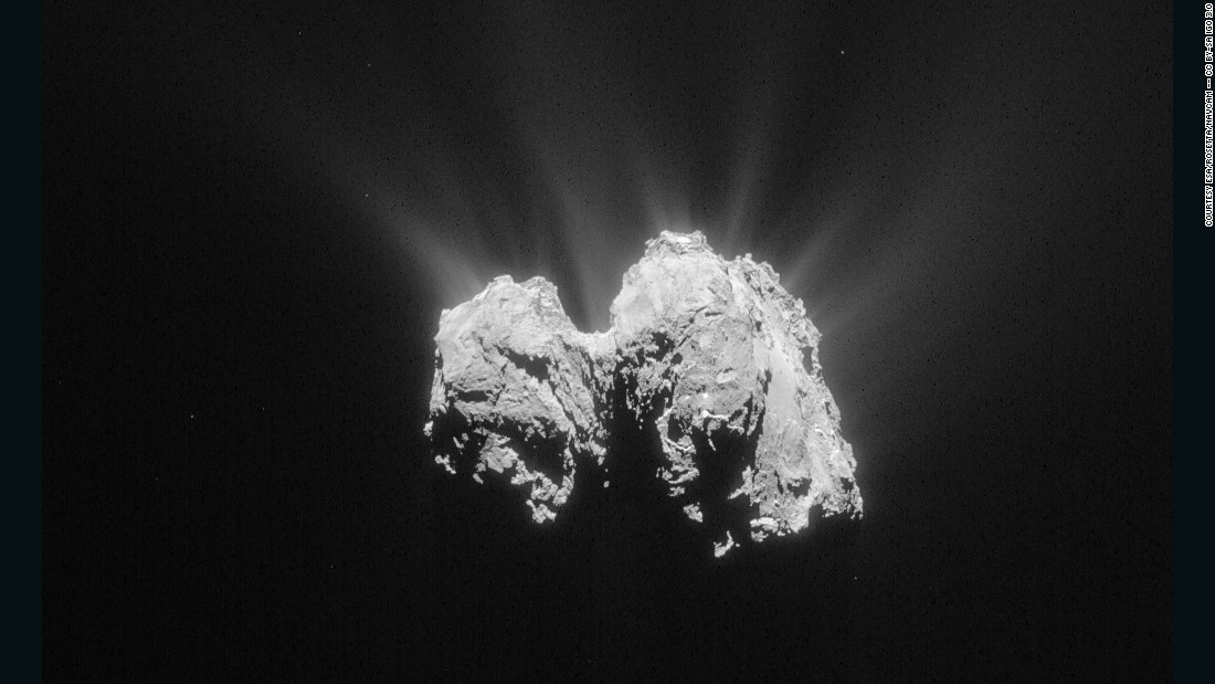 The Rosetta Mission is tracking Comet 67P/Churyumov-Gerasimenko on its orbit around the sun. This image was taken on May 3, 2015 at a distance of about 84 miles (135 km) from the comet's center.