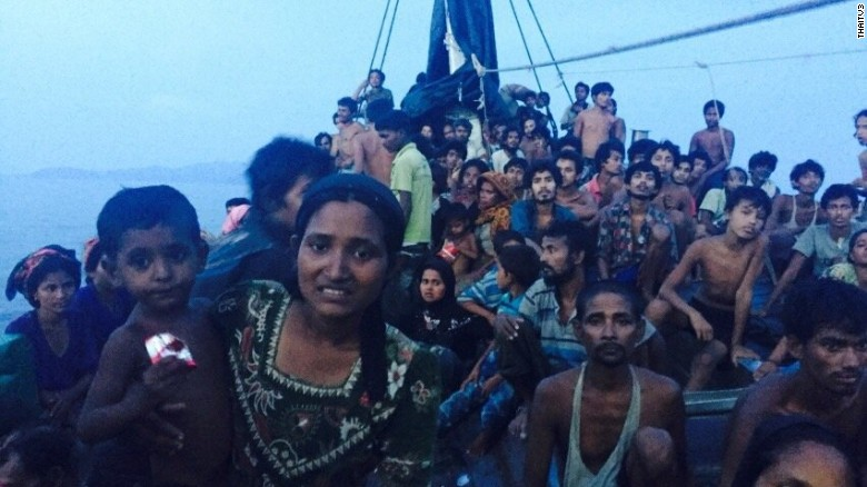 Hundreds of desperate Rohingya migrants are packed on a wooden boat that was spotted off Thailand's coast Thursday, May 14, 2015. The Rohingya, a persecuted Muslim minority from majority-Buddhist Myanmar, have been seeking asylum in other southeast Asian countries.