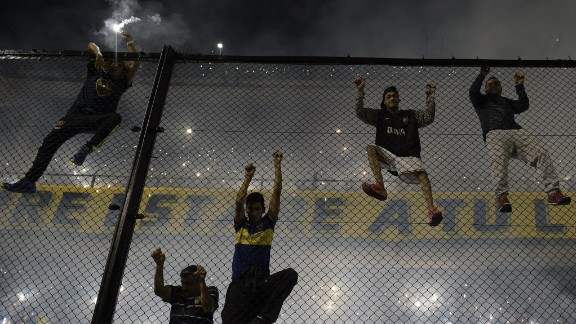 High fences separate the fans from the pitch at Buenos Aires' La Bonbonera stadium, one of the most iconic stadiums in world football.