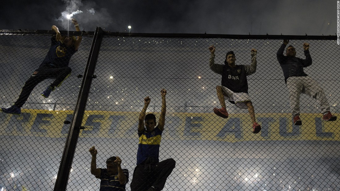 MAY 15 -- BUENOS AIRES, ARGENTINA: Boca Juniors fans cheered their team on before the match against fierce rivals River Plate at the Bombonera Stadium.