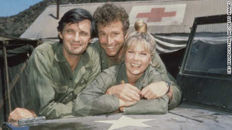 1972 M*A*S*H (MASH) from left: Alan Alda as Capt. Benjamin Franklin Pierce (Hawkeye), Wayne Rogers as Capt. John McIntyre (Trapper John), and Loretta Swit as Maj. Margaret Houlihan (Hot Lips).