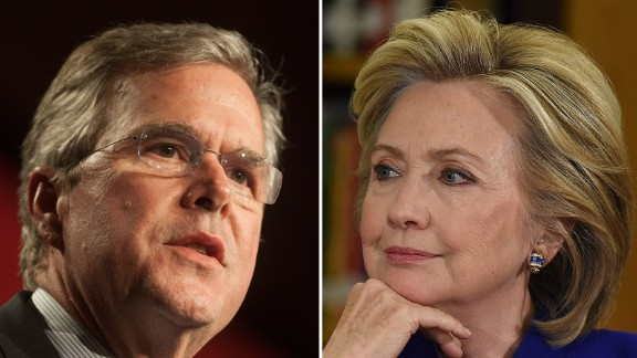 Jeb Bush, left, and Hillary Clinton are shown in this composite image.