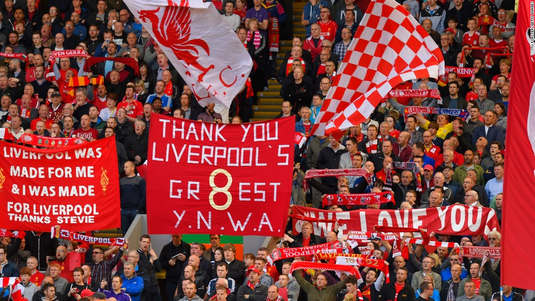 The banners in the crowd say it all.  Liverpool supporters pay their tributes to Gerrard.