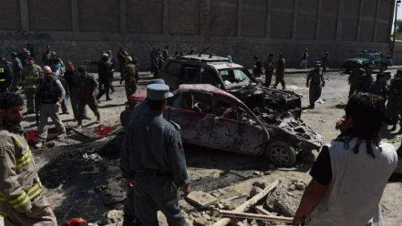 A powerful suicide blast struck near Kabul airport during the peak morning rush hour on Sunday.