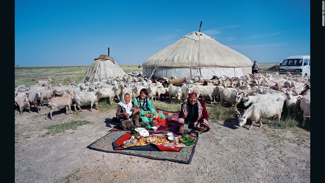 Shepherd Hade'er, who owns 350 sheep, lives in Unity village, Aksai Kazakh Autonomous county in Gansu province. During the summer he and his family moves constantly around the plains, and pass the winters in the county center. From raising sheep alone they make 100,000 yuan ($16,083) per year.