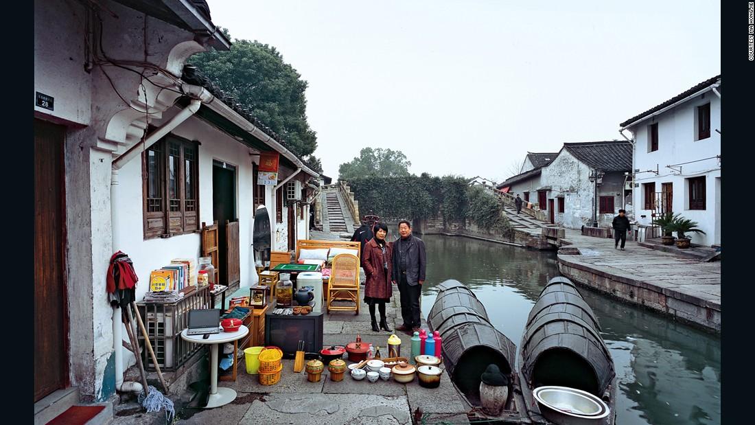 This family lives in a floating home next to a small river running through the city of Shaoxing in Zhejiang province. Xu Mugen is a manager at a construction development company, and his wife, Fan Guofang is a ticket clerk at the Shaoxing East Lake Scenic Site. They have one son, and make about 400,000 yuan ($64,335) a year.